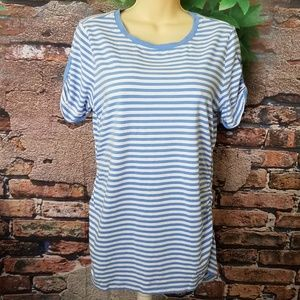 Striped Blue White Cinched Zip Shoulders Top